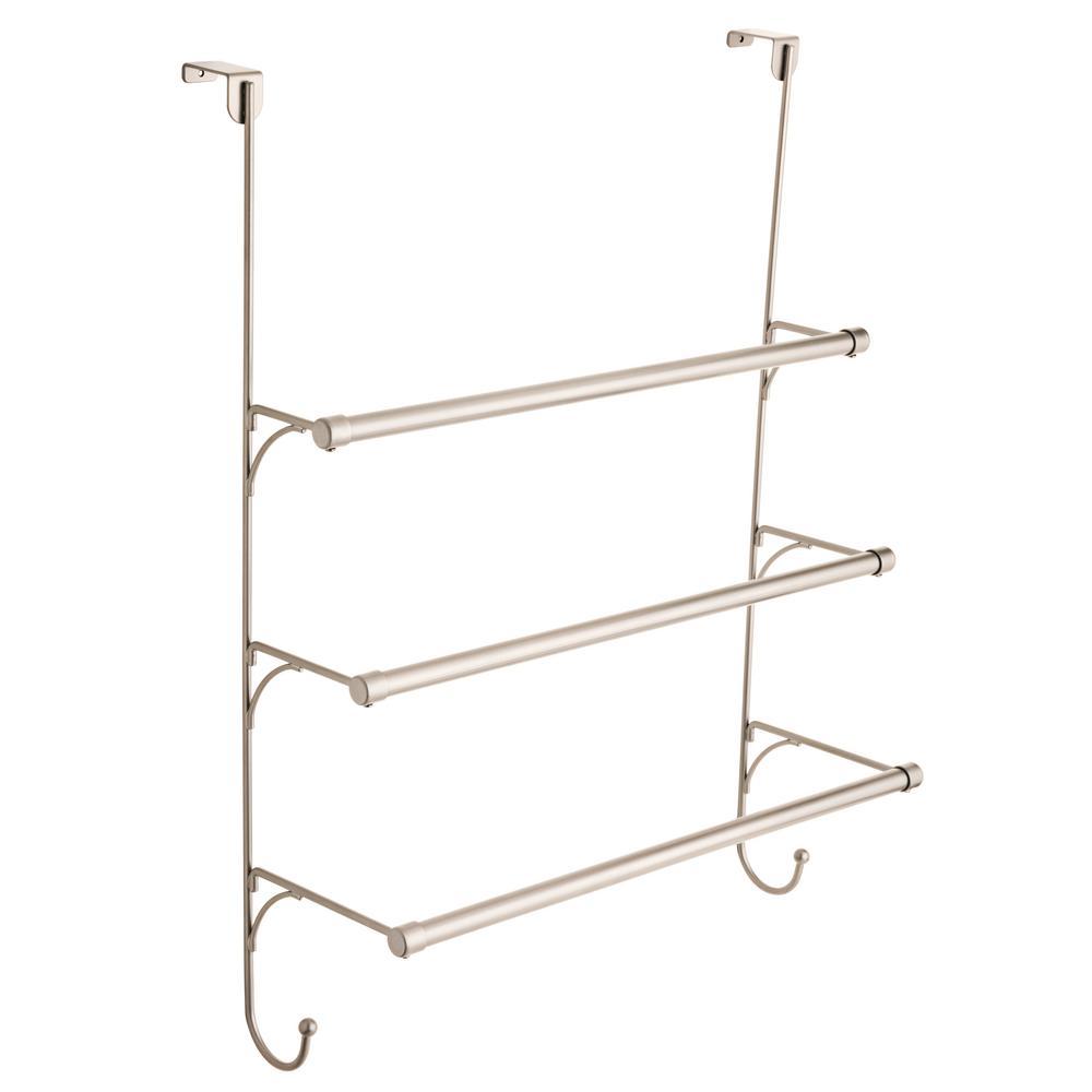Over-the-Door 3-Bar Towel Rack in Satin Nickel