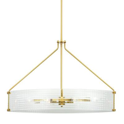 Westlyn 6-Light Brushed Brass Chandelier with Clear Optic Glass Shade