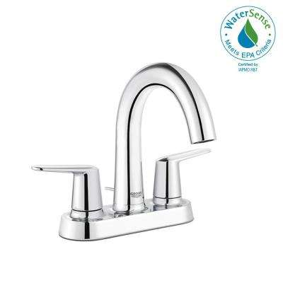 Veletto 4 in. Centerset Two-Handle High-Spout Bathroom Faucet in Starlight Chrome