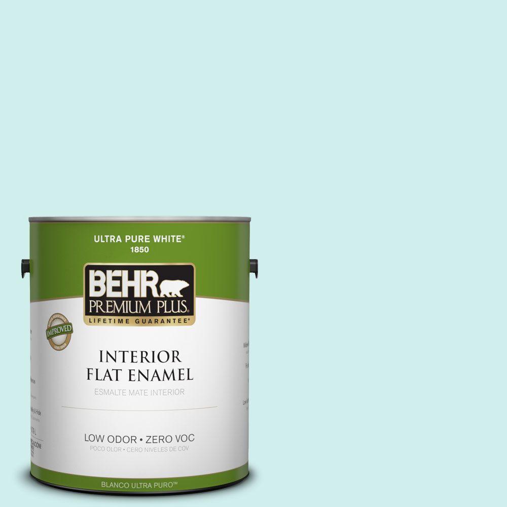 BEHR Premium Plus 1-gal. #490A-1 Teal Ice Zero VOC Flat Enamel Interior Paint-DISCONTINUED