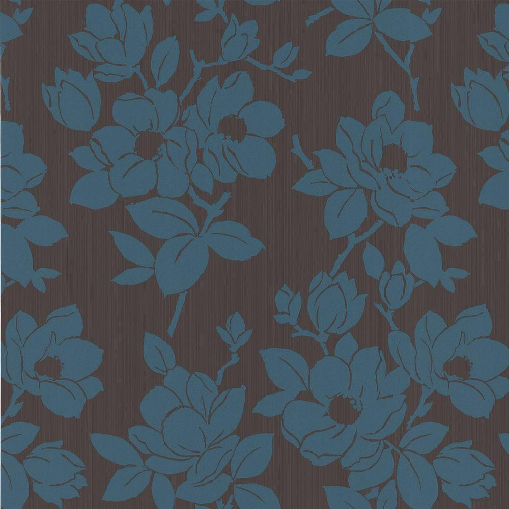 Graham & Brown 56 sq. ft. Rose Teal Wallpaper-DISCONTINUED
