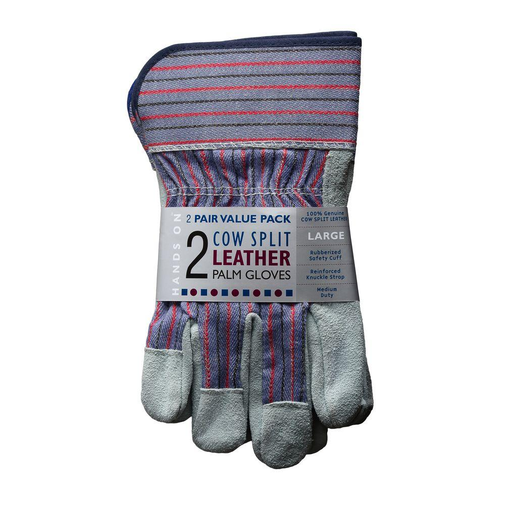 HANDS ON Genuine Suede Leather Palm Large Work Gloves (2-Pack)