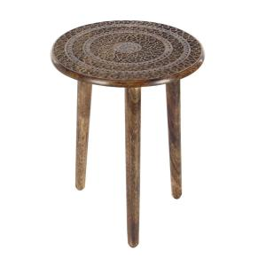 Brown Carved Mandala Wood 3-Legged Accent Table by