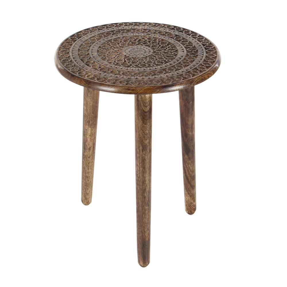 Brown Carved Mandala Wood 3-Legged Accent Table