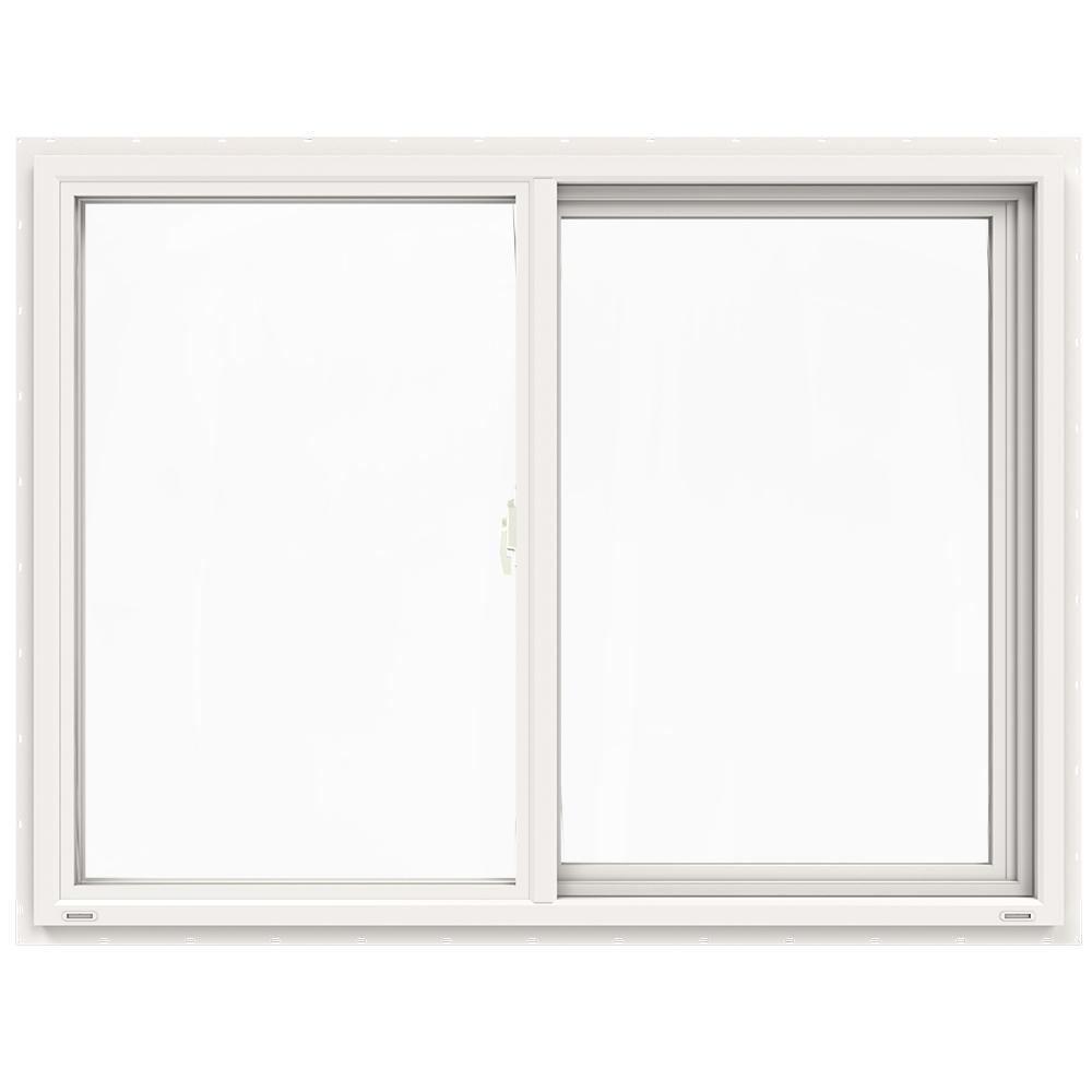 JELD-WEN 47.5 in. x 35.5 in. V-4500 Series White Vinyl Left-Handed Sliding Window with Fiberglass Mesh Screen