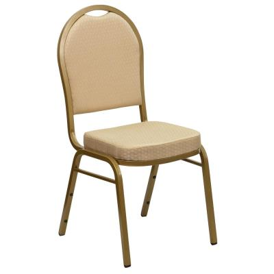 Beige Patterned Fabric/Gold Frame Stack Chair