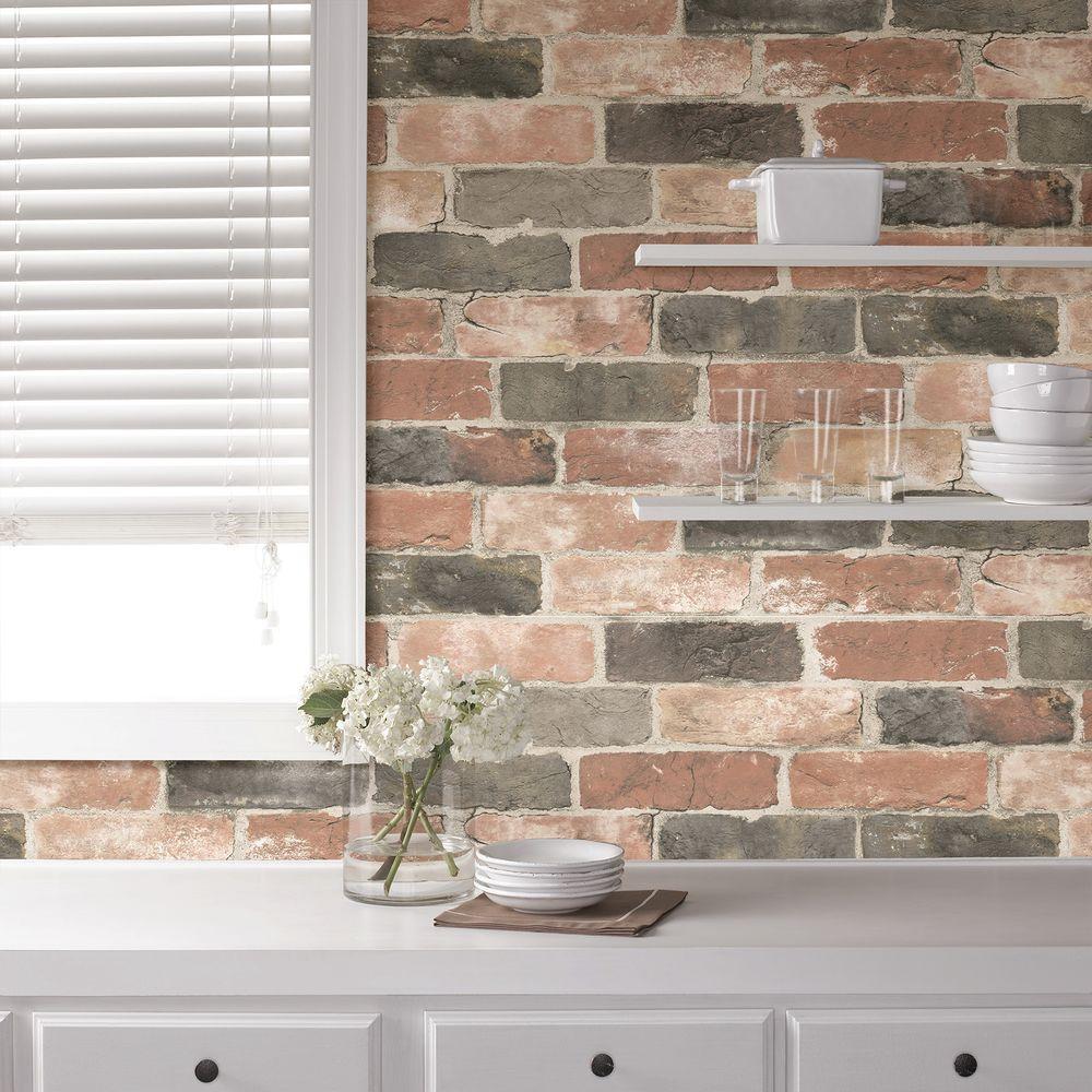 Newport Reclaimed Brick Peel and Stick Wallpaper Sample