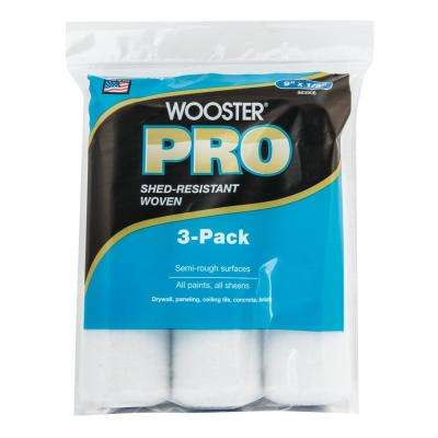 9 in. x 1/2 in. High-Density Woven Acrylic Roller Covers (3-Pack) (Case of 6)