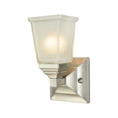 Sinclair 1-Light Brushed Nickel With Frosted Glass Bath Light