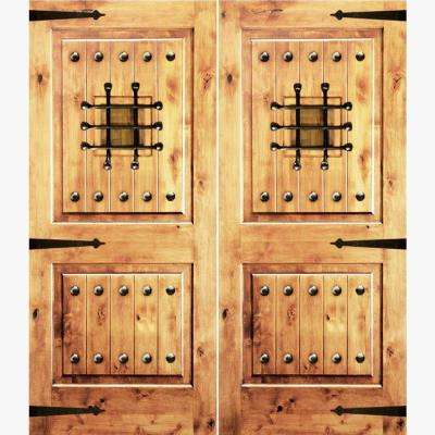 72 in. x 96 in. Mediterranean Knotty Alder Square Top Clear Right-Hand Inswing Wood Double Prehung Front Door