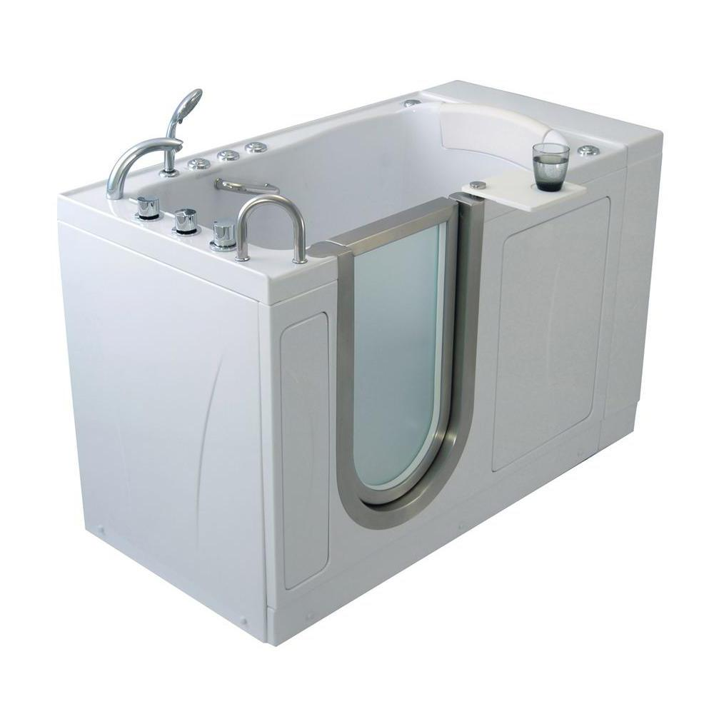 Ella Elite 52 in. Acrylic Air Bath and MicroBubble Walk In Tub in White,5 Piece Thermostatic Faucet Set, LH 2 in. Dual Drain