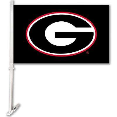 NCAA 11 in. x 18 in. Georgia 2-Sided Car Flag with 1-1/2 ft. Plastic Flagpole (Set of 2)