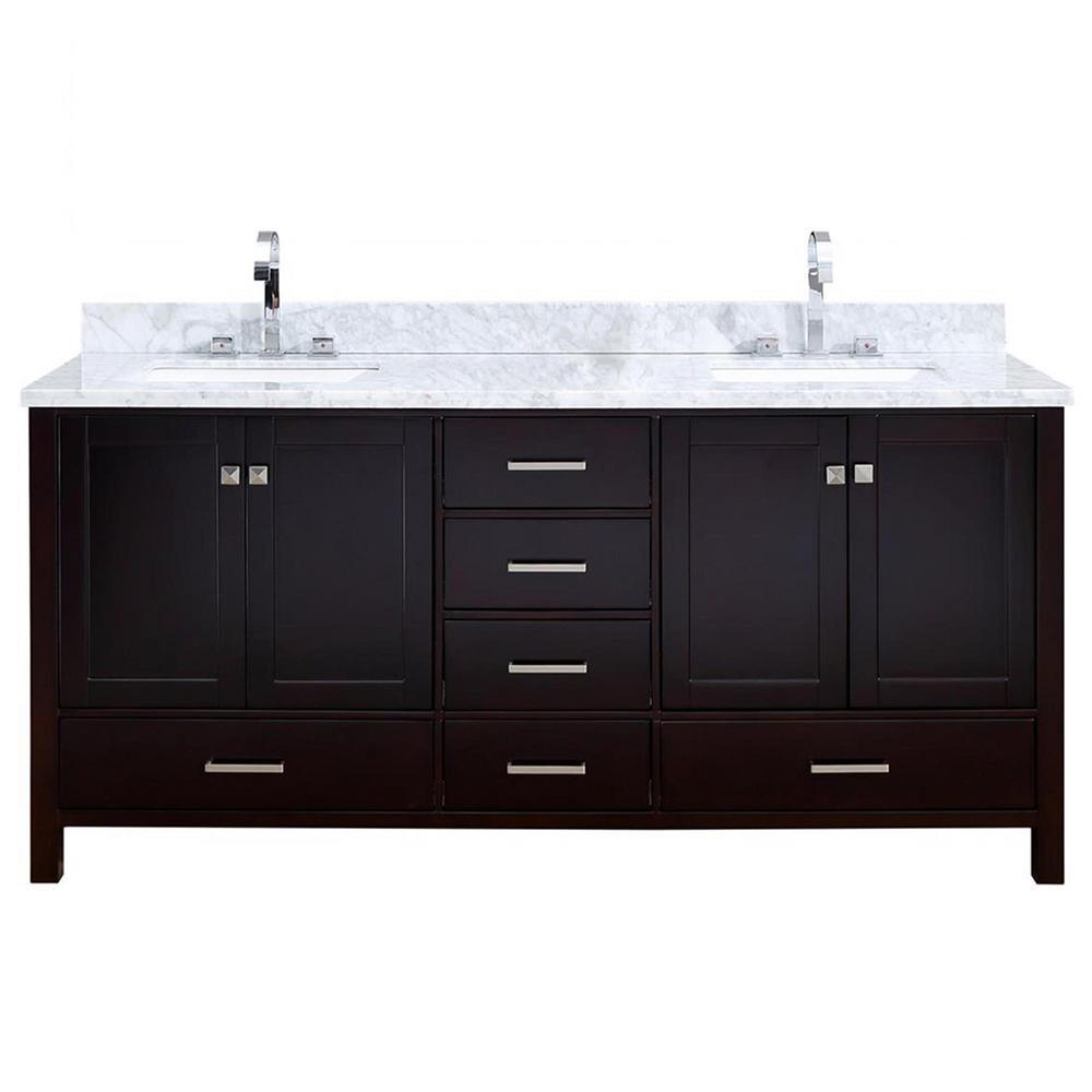 Cambridge 73 in. Bath Vanity in Espresso with Marble Vanity Top in Espresso with White Basins