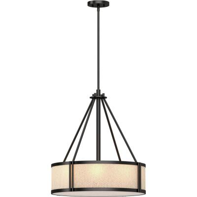 4-Light Indoor Antique Bronze Downrod Pendant with Light Beige Linen Drum Shade and Frosted Lens Bottom