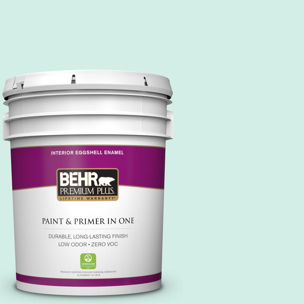 BEHR Premium Plus 5-gal. #P440-1 Shimmering Pool Eggshell Enamel Interior Paint