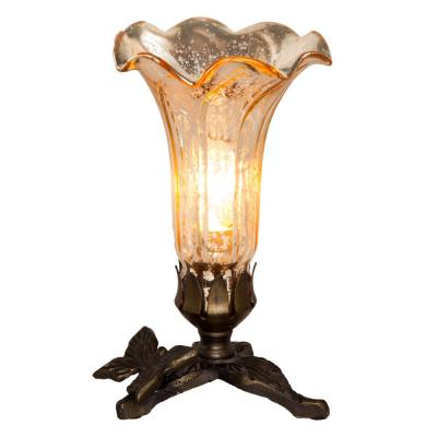 Lily Butterfly 8 in. Gold Mercury Glass Accent Lamp