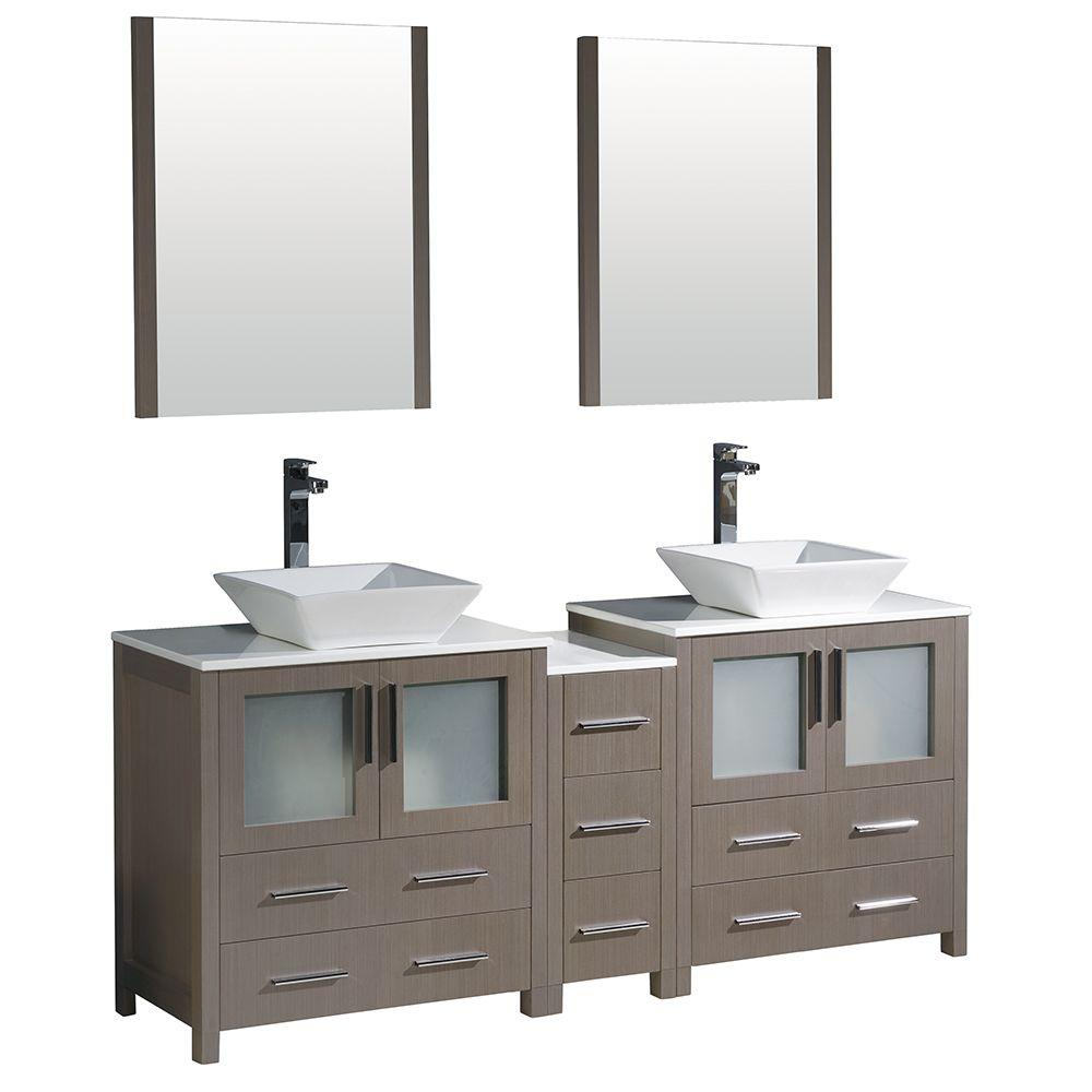 Torino 72 in. Double Vanity in Gray Oak with Glass Stone