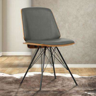 Inez 32 in. Gray Faux Leather and Black Powder Finish Mid-Century Dining Chair