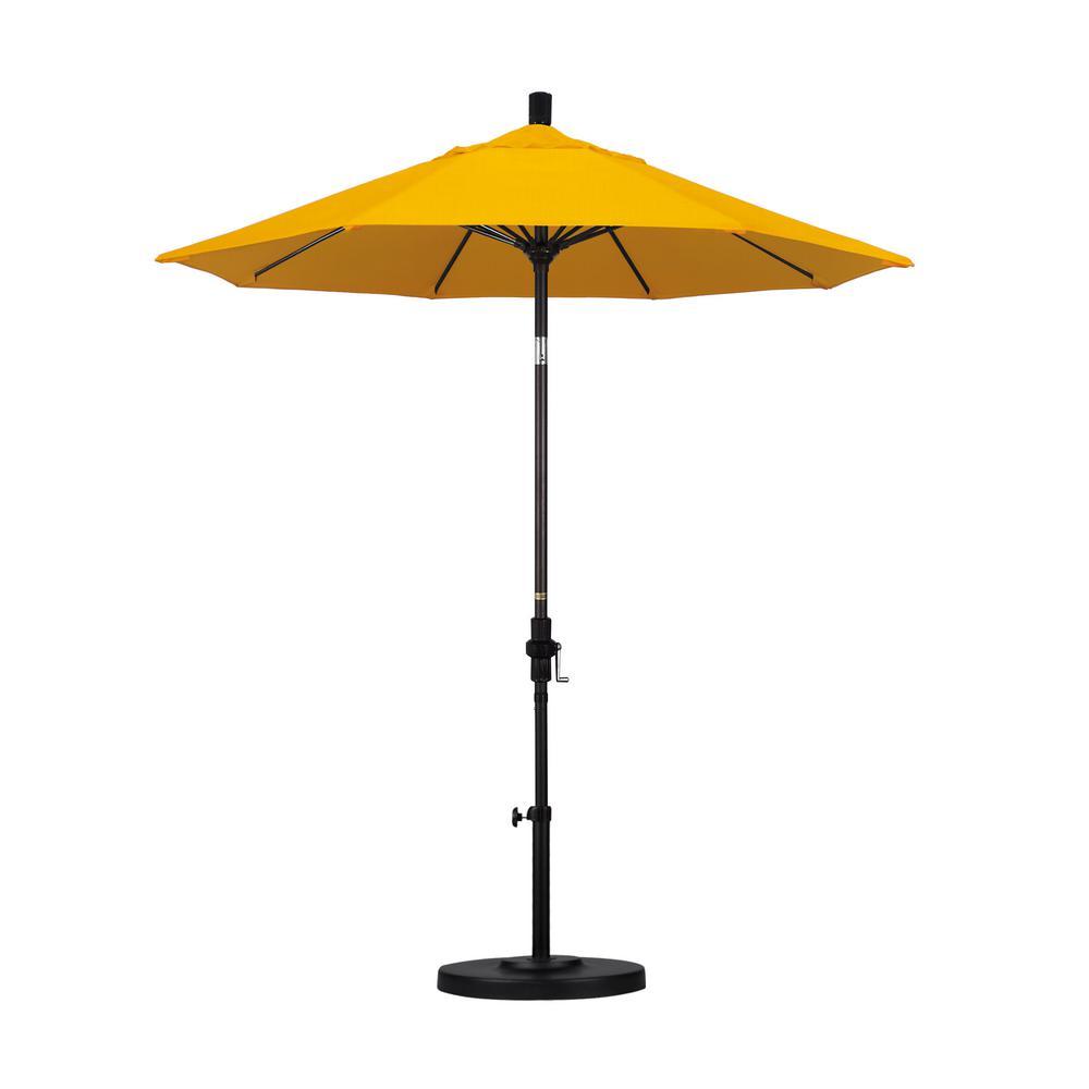 7-1/2 ft. Fiberglass Collar Tilt Double Vented Patio Umbrella in Yellow