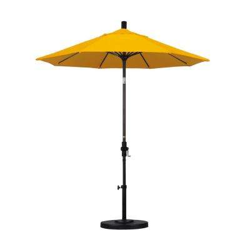 7-1/2 ft. Fiberglass Collar Tilt Double Vented Patio Umbrella in Yellow Pacifica
