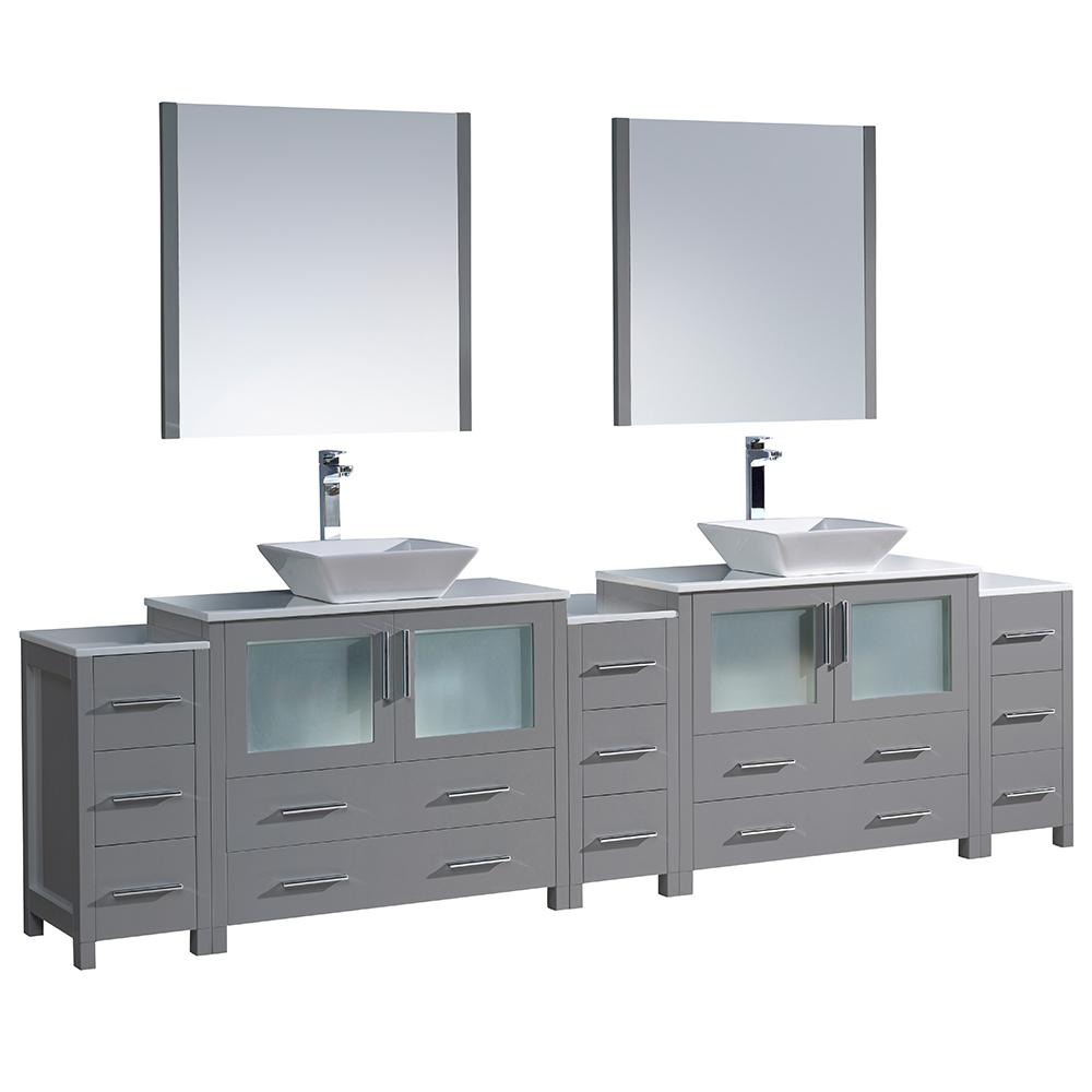 Double Bath Vanity Gray Glass Stone Vanity Top White