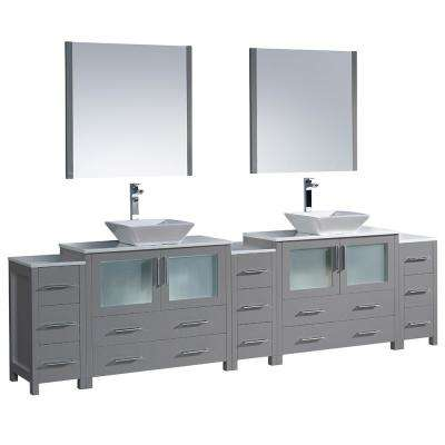 Torino 108 in. W Double Bath Vanity in Gray with Glass Stone Vanity Top in White with White Vessel Sinks and Mirrors