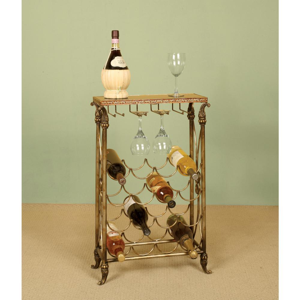 16-Bottle Distressed Copper Wine Rack