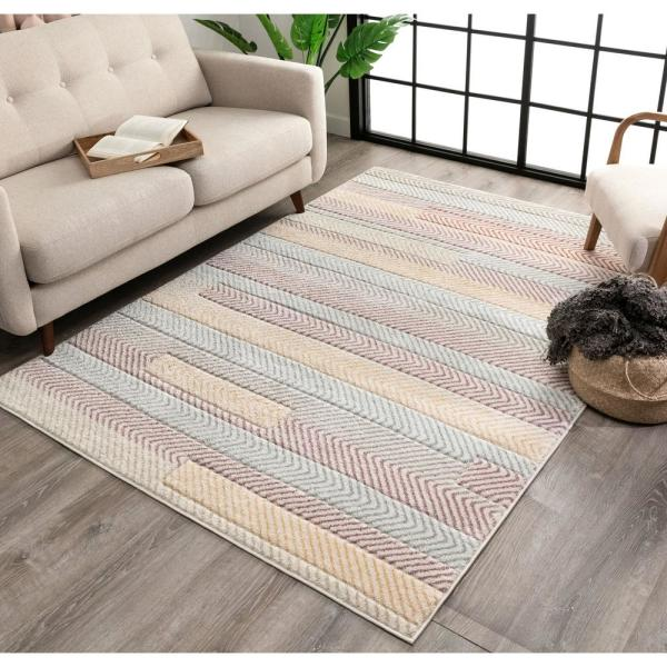 Well Woven Whoa Kirby Ivory Light Blue Grey Yellow Geometric Scandinavian 3d Textured 7 Ft 10 In X 9 Ft 10 In Area Rug Wh 32 7 The Home Depot