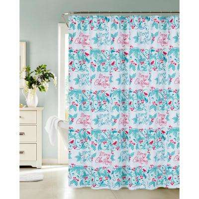13-Piece Holiday Merry Christmas Stripe Shower Curtain and Hooks Set