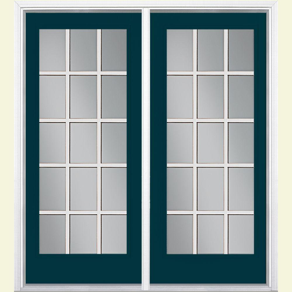 Masonite 72 in. x 80 in. Night Tide Fiberglass Prehung Right-Hand Inswing 15 Lite GBG Patio Door with Vinyl Frame