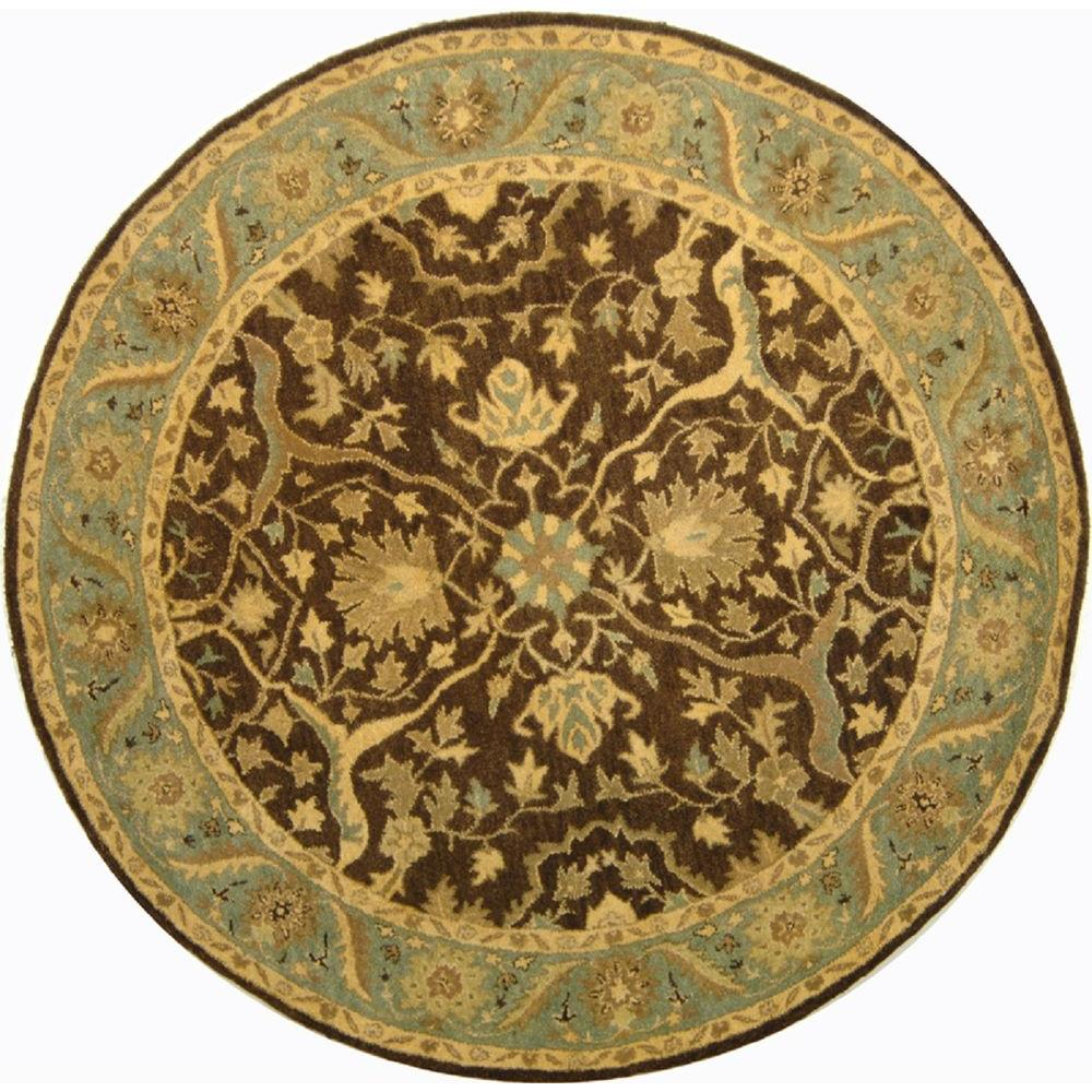 safavieh antiquity brown green 3 ft 6 in x 3 ft 6 in round area rug at14f 4r the home depot. Black Bedroom Furniture Sets. Home Design Ideas