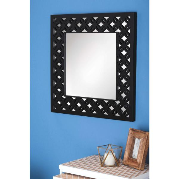 Litton Lane 31 In X Gray Lattice Wooden Wall Mirror