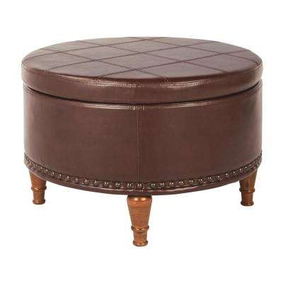 Alloway Espresso Faux Leather with Antique Bronze Nail-Heads Storage Ottoman