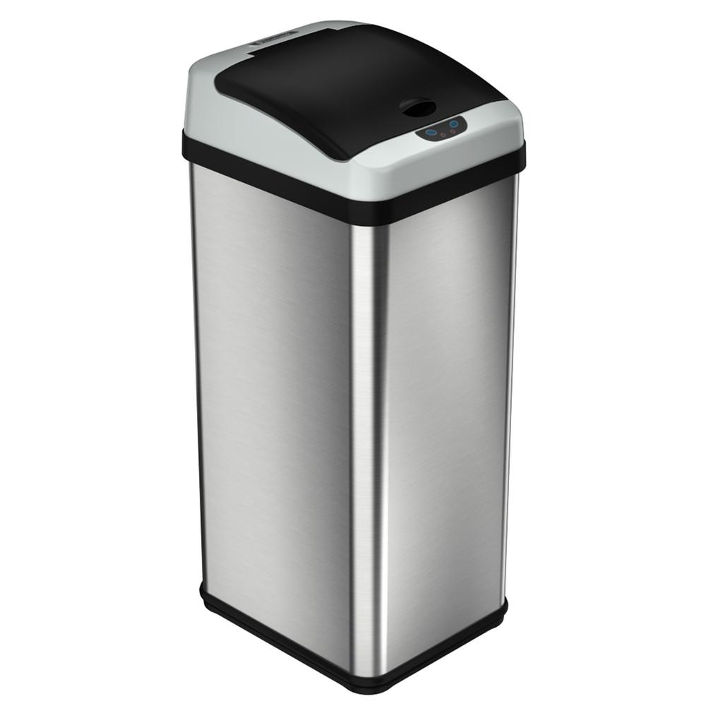 13 Gal. Platinum Rectangular Extra-Wide Stainless Steel Automatic Sensor  Trash Can