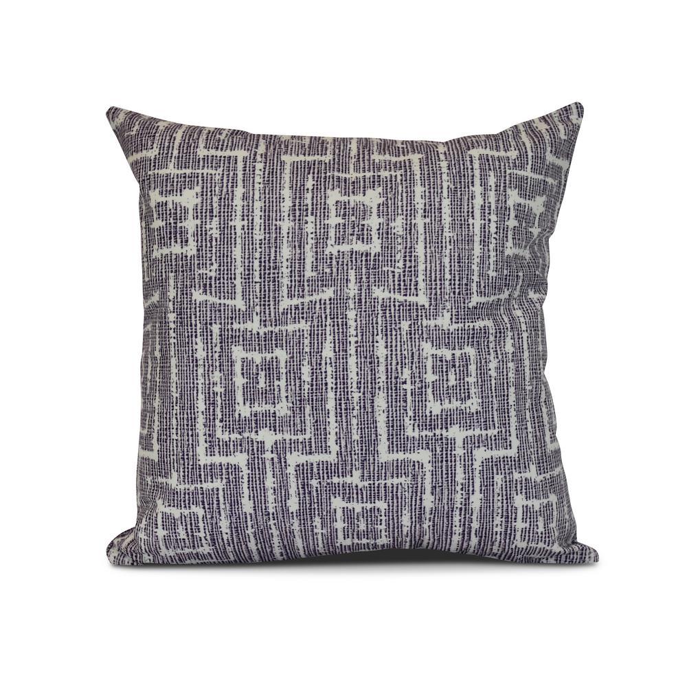 16 in. Purple Woven Tiki Geometric Print Pillow