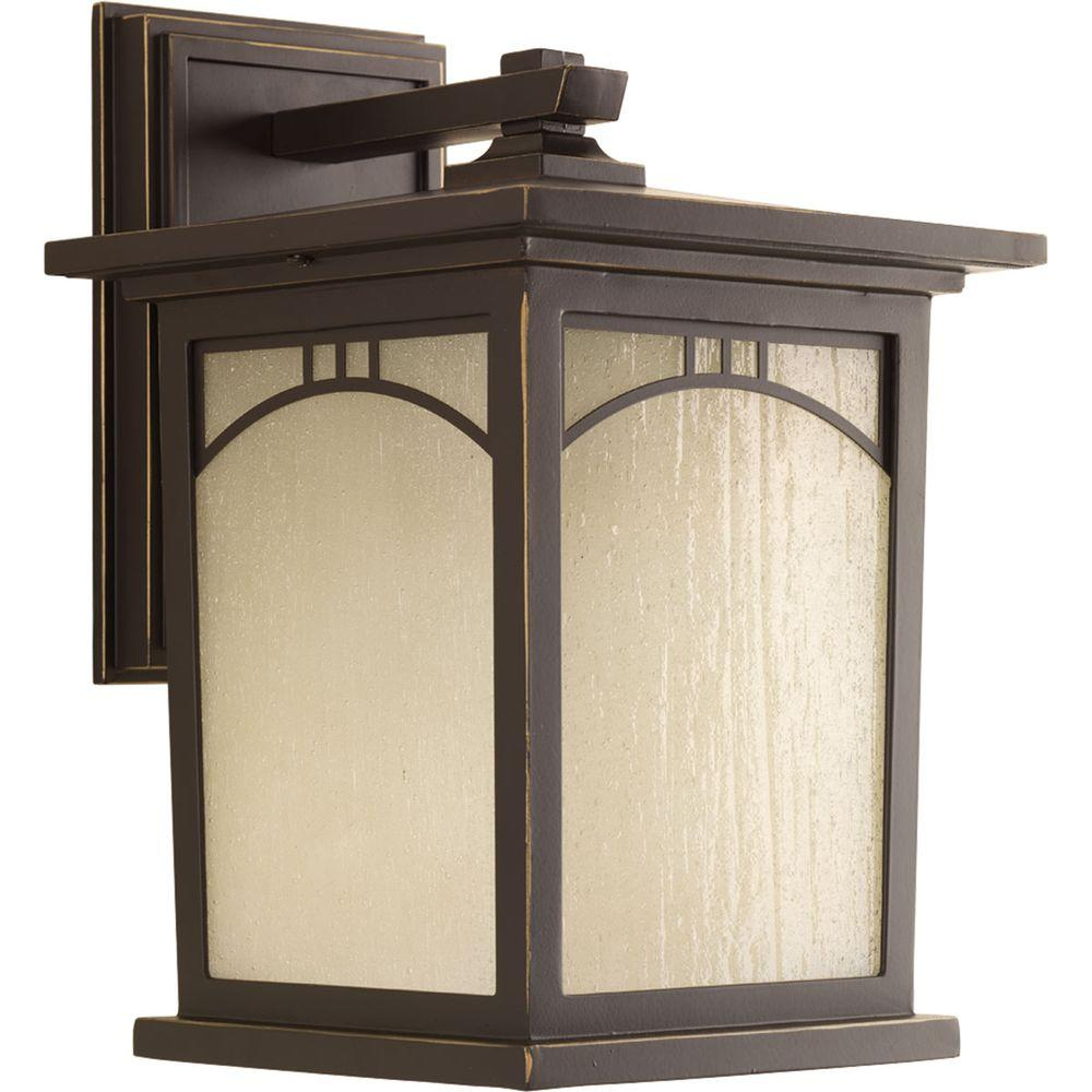 Residence Collection 1-Light Outdoor 8 Inch Antique Bronze LED Wall Lantern