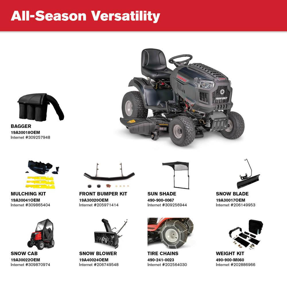 Troy-Bilt Super Bronco XP 50 in  679 cc V2 OHV Engine Gas Lawn Tractor w/  Hydrostatic Transmission, Cruise Control, Mow in Reverse