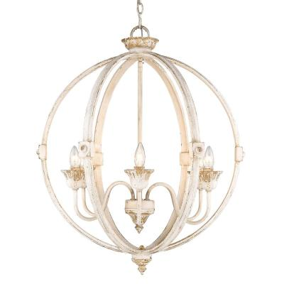 Jules Collection 6-Light Antique Ivory Chandelier