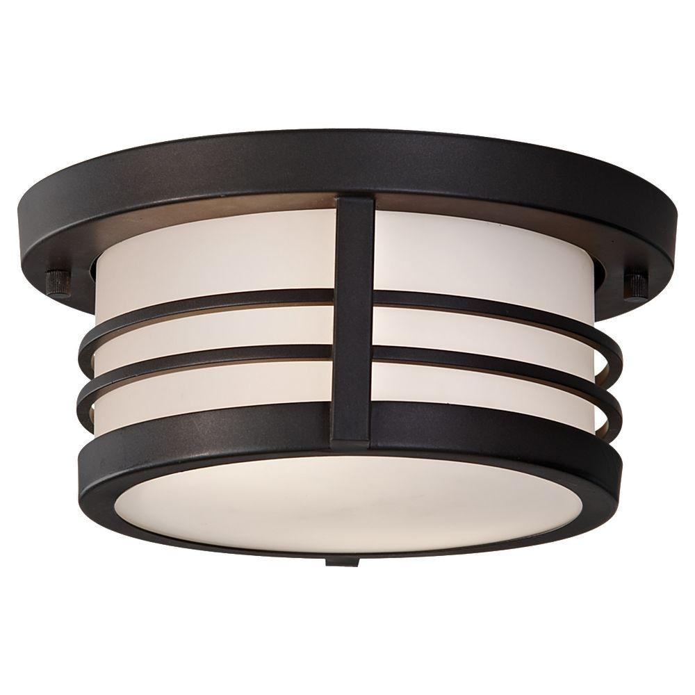 Feiss Carbondale 2-Light Outdoor Dark Chocolate Flush Mount