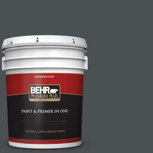 Behr Premium Plus 5 Gal Ppu26 01 Satin Black Flat Exterior Paint And Primer In One 430005 The Home Depot