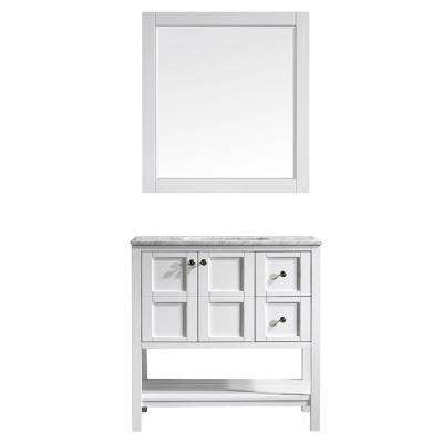 Florence 36 in. W x 22 in. D x 35 in. H Vanity in White with Marble Vanity Top in White with Basin and Mirror