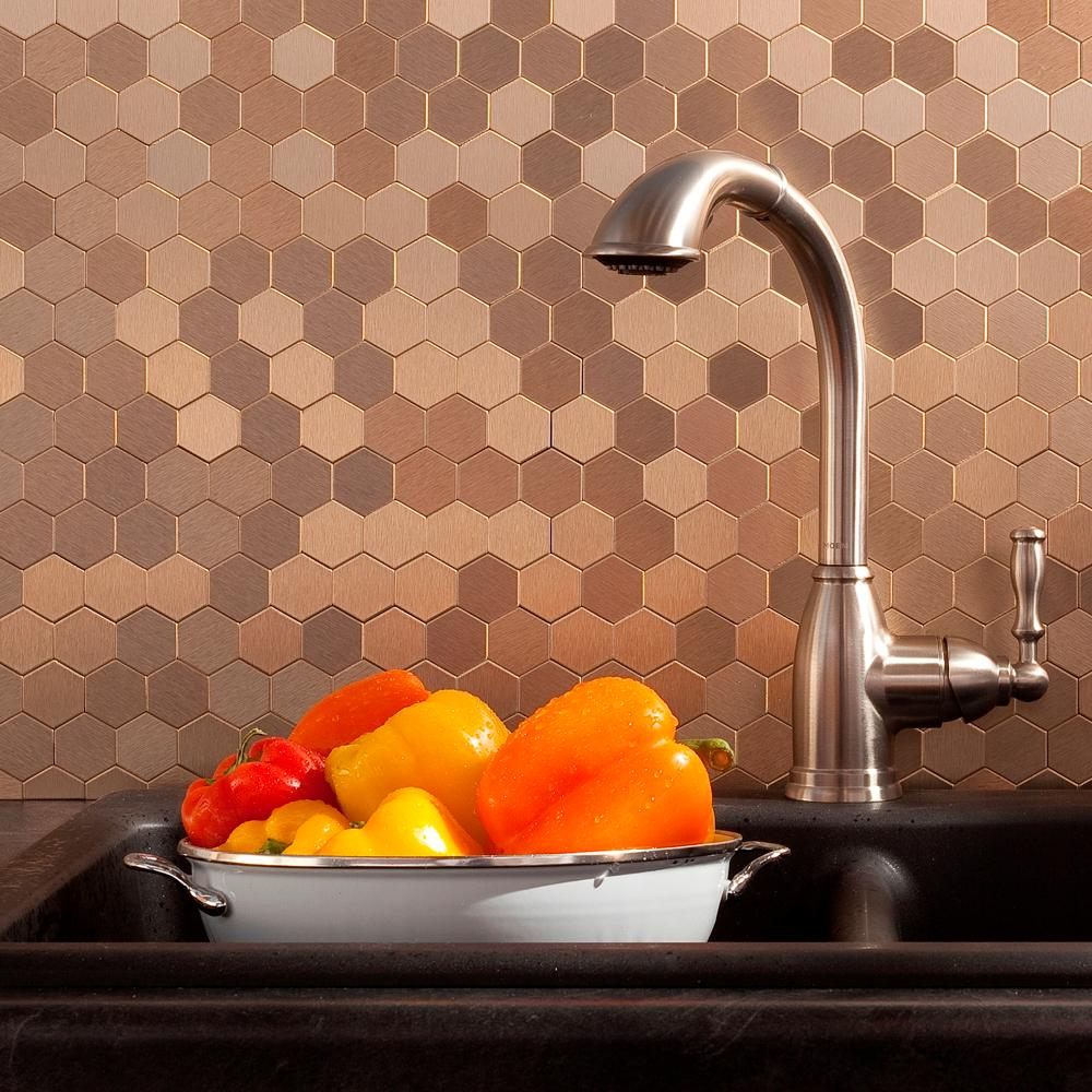 aspect honeycomb matted 12 in x 4 in brushed champagne metal decorative tile backsplash 1 sq. Black Bedroom Furniture Sets. Home Design Ideas
