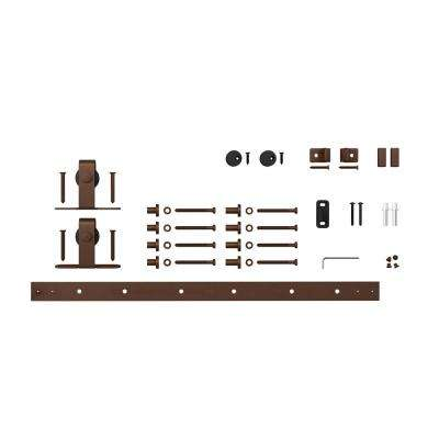 5 ft. Oil Rubbed Bronze Solid Steel Mini Sliding Rolling Barn Door Hardware Kit for Single Furniture Wood Doors