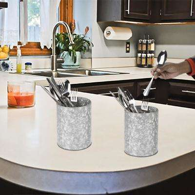 Silver Galvanized Utensil Holder Kitchen Condiment Organizer