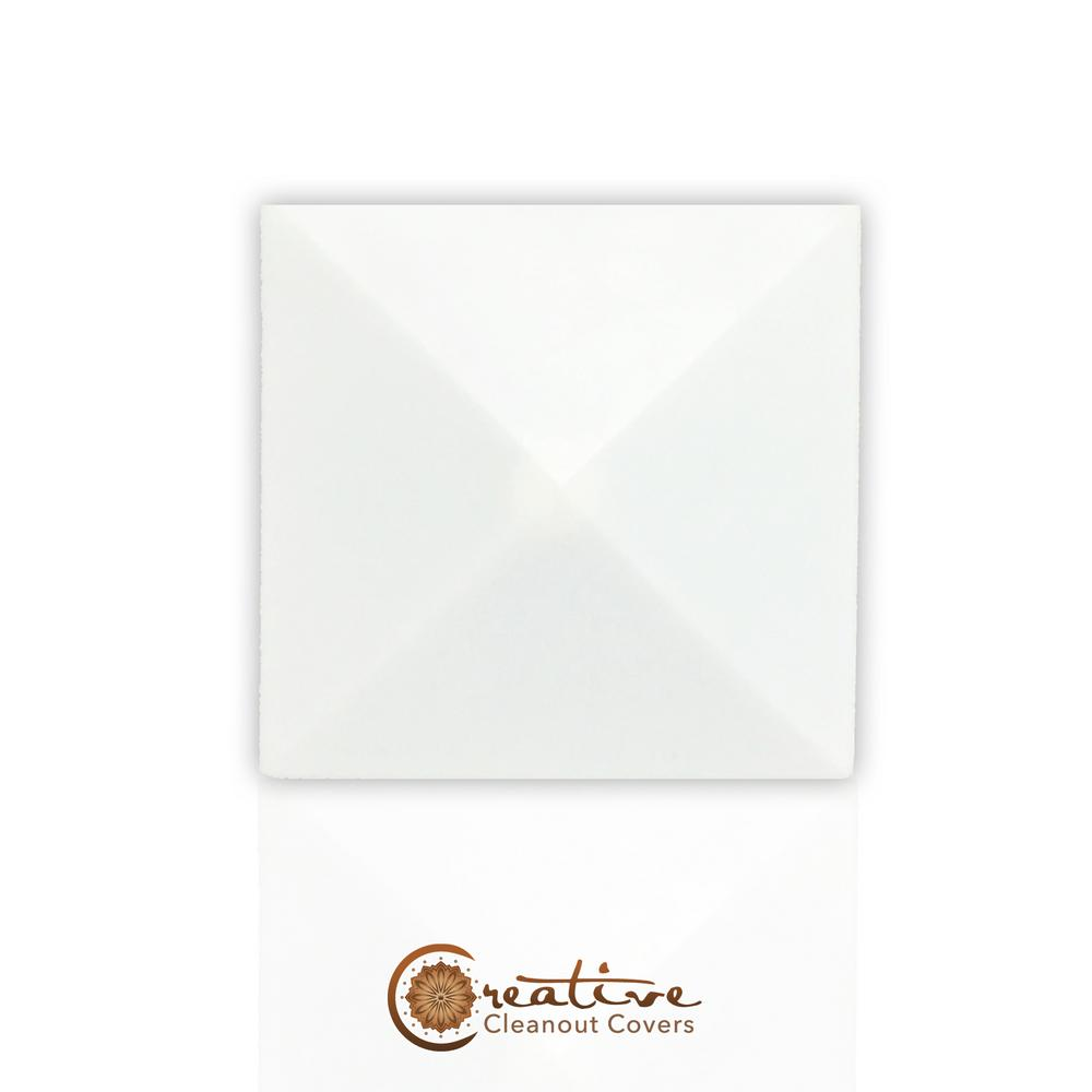 Creative Cleanout Covers Mesa Square Paint Grade White 5.375 in. x 5.375 in. Cleanout Cover
