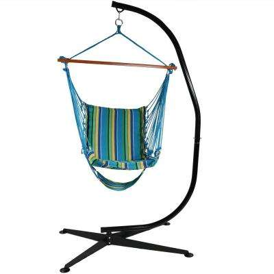 3.5 ft. Fabric Hanging Soft Cushioned Hammock Chair and Footrest with Stand in Ocean Breeze