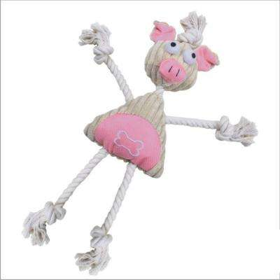 Jute and Rope Plush Pig Mannequin Dog Toy in Pink