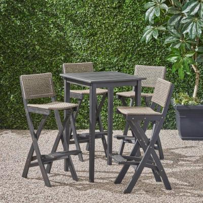 Polaris Dark Grey 5-Piece Wood and Wicker Square 41.75 in. Outdoor Serving Bar Set