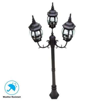 3 Head Black Outdoor Post Light