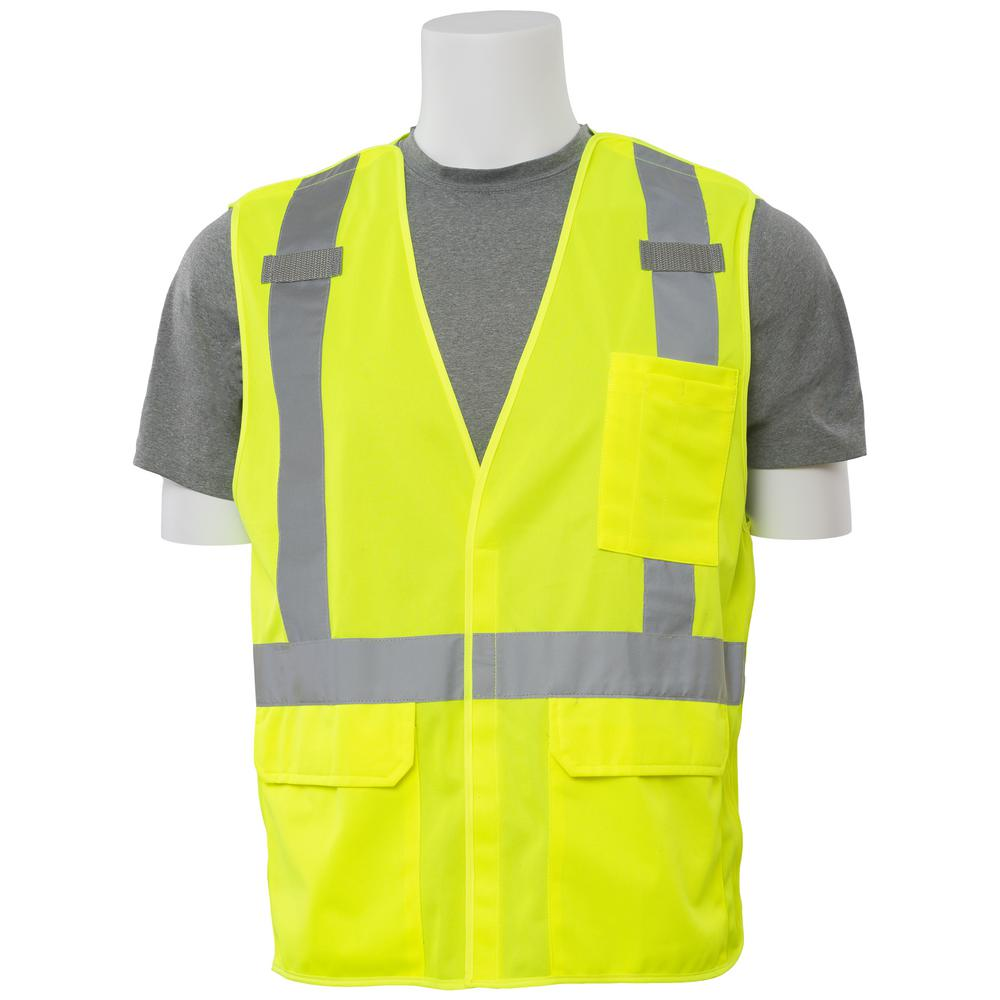 S361 4X Class 2 5-Point Break-Away Poly Tricot Hi Viz Lime